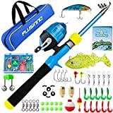 Kids Fishing Pole, Portable Telescopic Fishing Rod and Reel Combo Kit with Fishing Practice Casting Plug and Spincast Fishing Reel for Boys Girls Youth