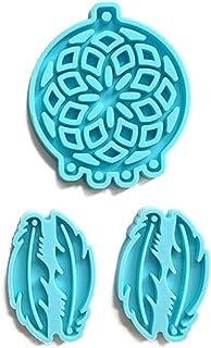 Yunnan Moules en silicone pour boucles d'oreilles, attrape-rêves, pendentifs en résine époxy, moule en forme de plume pour...