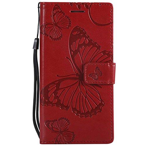 DENDICO Cover Huawei P8 Lite, Pelle Portafoglio Custodia per Huawei P8 Lite Custodia a Libro con Funzione di appoggio e Porta Carte di cRossoito - Rosso