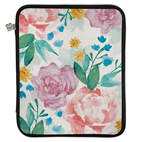 Erin Condren Large Designer Planner Folio - Watercolor Blooms, Perfect Organizer for Documents, Planners, and Notebooks. Portfolio Case Holder with Zipper and Inner Pouch