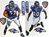 Baltimore Ravens FATHEAD 2 Players + Ravens Logo Set NFL Vinyl Wall Graphics - RAY Lewis, ED Reed - Each Player 17' INCH
