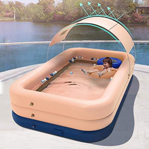 Riesiger aufblasbarer Familienpool, Familien-Lounge-Pool mit Sonnenschirm, aufblasbarer Lounge-Pool für Kinder, Erwachsene, Easy Set-Pool für den Garten, Sommerwasserparty, Außenpools
