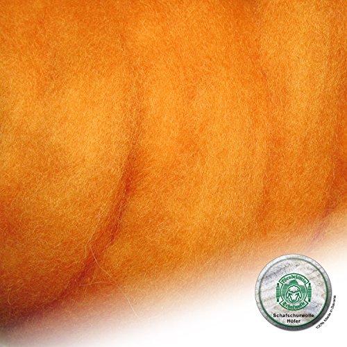 Schafwolle Höfer Filzwolle Bastelwolle Märchenwolle gefärbt 100 Gramm Farbe 37 Aprikose
