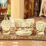 T-WYTZ Set de baño Hotel Baño de Estilo Europeo de Cinco Piezas de artículos de tocador de cerámica del hogar Suministros Tazas de Dientes Tazas Dientes con Matrimonio,A