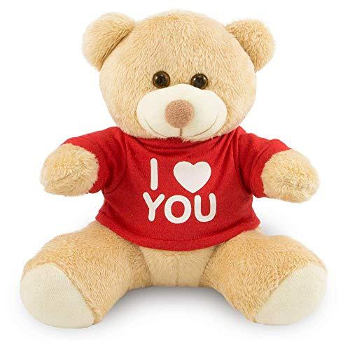 Urso de Pelúcia Camiseta 20cm I LOVE YOU