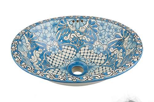 Lorena - kleine kleurrijke wastafel, Mexicaanse ovale inbouwwastafel | kleine keramiek Talavera wastafel uit Mexico | Ideaal voor badkamer, wc, gastenbadkamer