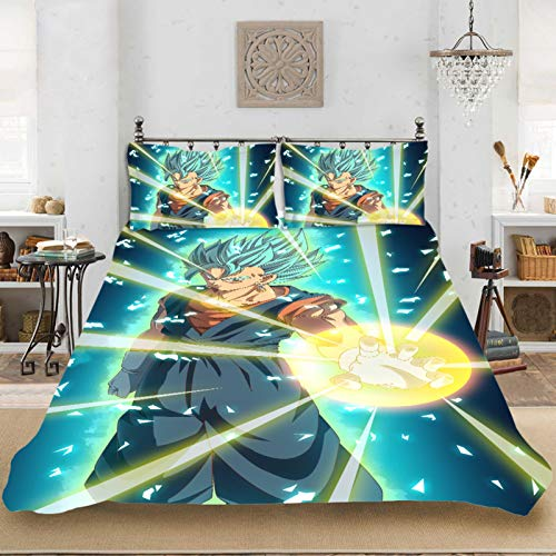 HENGHA Dragon Ball Bettwäsche Set,3D Dragonball Z Super Muster Bettbezug Mit Kissenbezug,Superweiche Mikrofaser Kinderbettwäsche (G,200x200 cm)