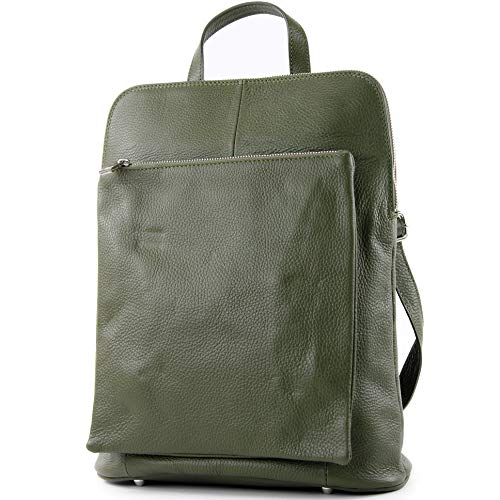 modamoda de - T141 - ital Damen Rucksacktasche 3in1 aus Leder, Farbe:Olive