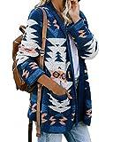 ASALWAYS Femmes Tricoté Cardigan Imprimé Aztèque Manche Longue Pull Automne et Hiver Oversize Front Ouvert Vêtements D'extérieur