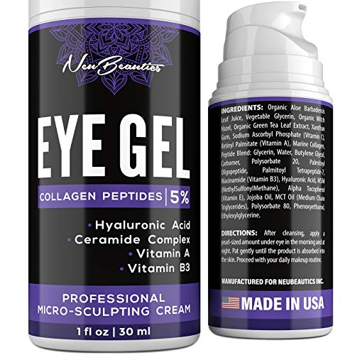 Micro-Sculpting Anti-Aging Eye Gel - Natural & Made in USA - Under Eye Cream for Dark Circles and Puffiness - Anti-Wrinkle & Fine Line Reduction Effect - Rich Wrinkle Cream for Puffy Eyes & Eye Bags