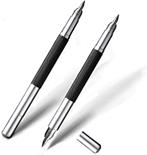 Double head Tungsten Caride Tip Scriber, 2019 New Version Double head Engraving pen 2 Pack Comparable to diamond hardness for Glass Metal Wood Ceramics Stone Portable Engraving bag