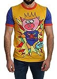 Dolce & Gabbana Camiseta de algodón amarillo Super Power Pig para hombre - amarillo - Talla Única