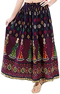 FEMEZONE Skirt Women's Cotton Regular Fit Cotton Skirt (Maroon)