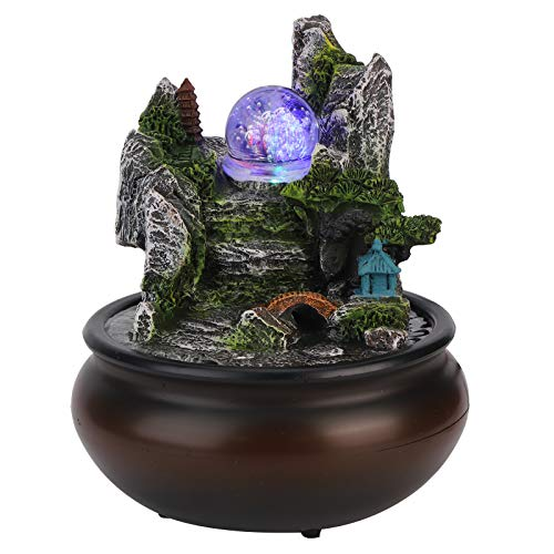 HONG111 Waterfall Tabletop Fountain, Feng Shui Zen Indoor Desktop Waterfall Fountain Ornaments with Crystal Ball and LED Lights for Home Office Bedroom Relaxation(US)