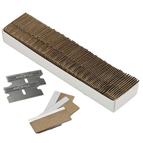 Razor Blades Utility: Single Edge Razor Blades 100 Pack, Razor Blade Scraper Refills, Steel Box Cutter Blades USA-Made, Safety Straight Edge Razor Blades, Paint Scraper Razor Blade by WEUPE