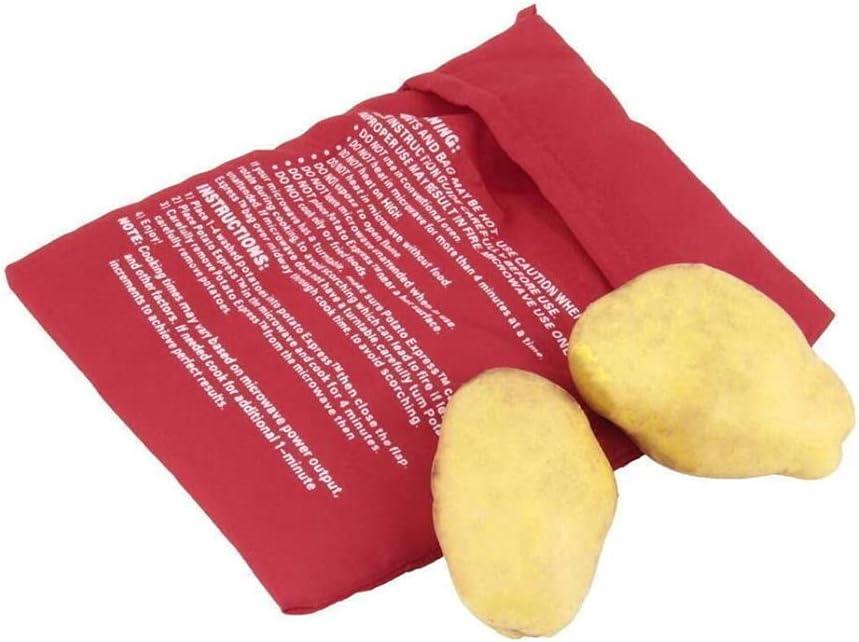 Bolsas de patata de microondas lavables reutilizables al horno bolsa de cocina Bolsa de cocina Bolsa de cocina de maíz (rojo)