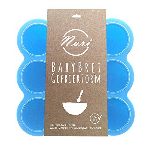 Nuri BPA-freie Gefrierform zum Einfrieren und Aufbewahren von Babynahrung/Babybrei (Blau)