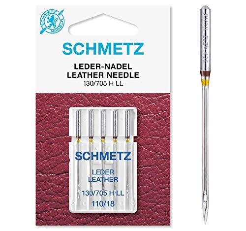 SCHMETZ Nähmaschinennadeln: 5 Leder-Nadeln, Nadeldicke 110/18, 130/705 H LL, auf jeder gängigen Haushaltsnähmaschine einsetzbar, geeignet für das Vernähen von Leder