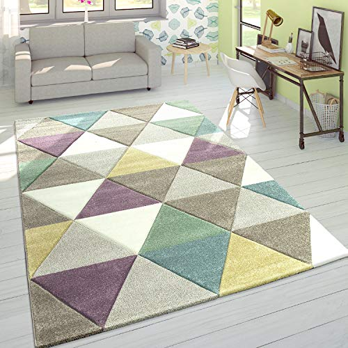 Alfombra Diseño Moderna Perfil Contorneado Colores Pastel Rombos Multicolor, tamaño:120x170 cm