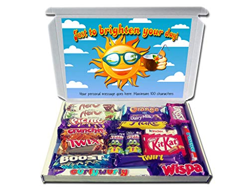 JUST to Brighten Your Day Personalised Chocolate Selection Box Gift Hamper Get Well Soon