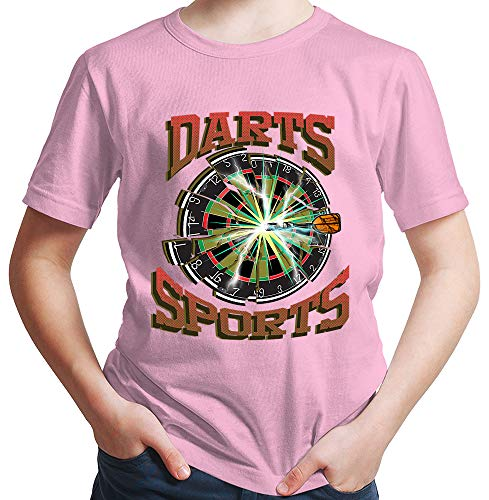 HARIZ Jungen T-Shirt Darts Sports Blitz Scheibe Dart Darten Dartpfeile Sport Fun Trikot Inkl. Geschenk Karte Rosa 98/2-3 Jahre