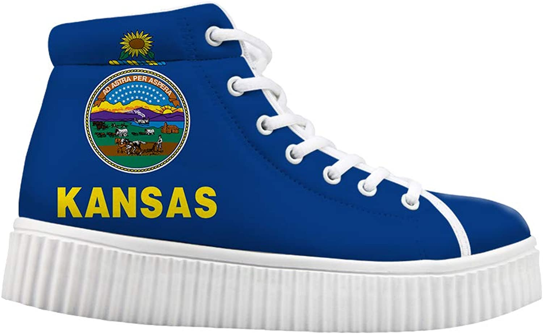 Ohaheson Platform Lace up skor Casual Chunky gående gående gående skor High kvinnor Sunflower State Kansas Flag  bra erbjudanden