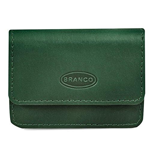 Sehr Kleine Geldbörse/Mini Münzbörse Größe XS aus Leder, für Damen und Herren, Jäger-Grün, Branco 108