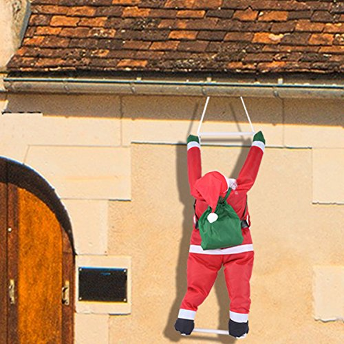Hanging Santa Claus Climbing a Rope Ladder with Gift Sack House Decoration