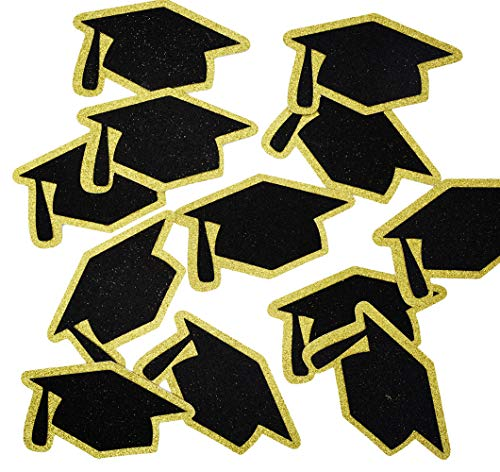 Grad Caps Glitter Confetti for Graduation Party Decorations Congrats Grad Table Decor Class of 2020 High School College Graduation Party Supplies 5.5 inches 12pcs (Gold & Black)