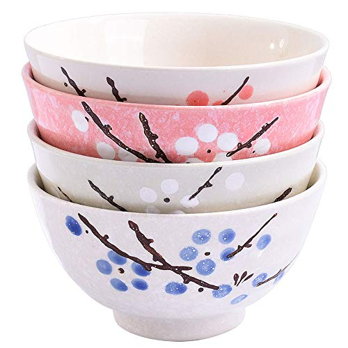 Japanese Rice Bowls Set of 4 - Japanese Style Hand-painted Floral Plum Ceramic Bowls set of 4 Color For Dessert Snack Cereal Soup