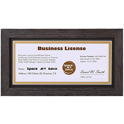 Space Art Deco, Brown Colored Frame for 4x9 Business License/Certificates, Includes D-Shaped Hangers for Hanging and Easel Stand for Table Top (5x10 Frame with Black Over Gold Double Mat, Set of 1)