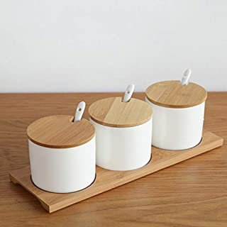 MANXUEUP Céramique Simple Cuisine contenants de Nourriture bocaux Organisateur pour épices sucrier boîte à Condiments boît...