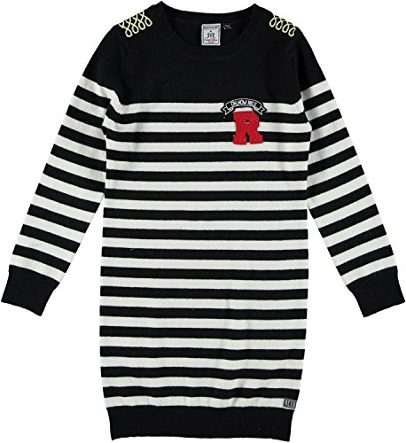 RETOUR - Mädchen Winterkleid Strickkleid gestreift. schwarz-natur - RJG-73-807. Größe 140