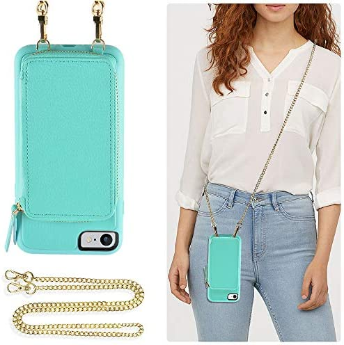 ZVE Case for Apple iPhone 7 and iPhone 8 4 7 inch Wallet Case with Crossbody Chain Credit Card product image