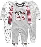 Kiddiezoom Baby Jungen sleepsuit satz von 3 l 6-9 monate grey dog & amp; star