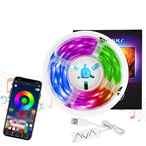 Tira de luz LED, Control de aplicación Bluetooth para teléfono móvil, con luz LED de 50 pies, Tira de luz RGB, Barra de luz de fondo de TV USB, Sincronización de música