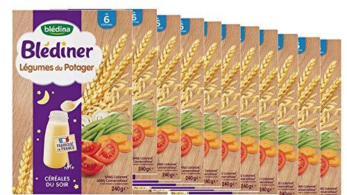 Blédina - Blédîner - Céréales du Soir pour bébé - Légumes du Potager - Dès 6 mois - Pack de 12 boites