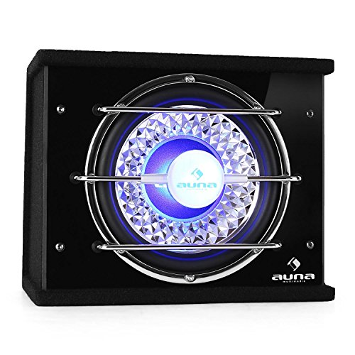 AUNA CB250-25 Auto-Subwoofer, New Edition, Auto Lautsprecher Box, max. 600 Watt, satter Klang, Chassis mit tiefschwarzer Optik, Blauer LED-Lichteffekt, Gitter in Chrom-Optik, schwarz