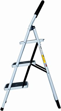 Good Life EN131 Folding 3 Step Ladder Home Depot Steel Step Ladders Lightweight 300 lb Capacity with Hand Grip Anti-Slip and