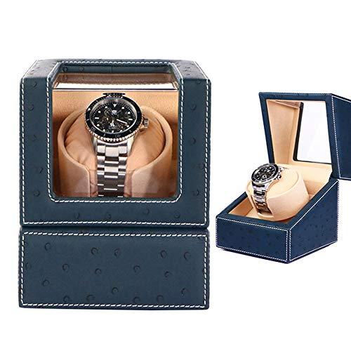 NUOBUNG Premium Automatic USB Single Uhrenbeweger Halter, mit flexiblen Kissen, hochwertigem Straußen-PU-Leder, Batteriebetrieben, Geschenk für Dame und Mann, Marineblau