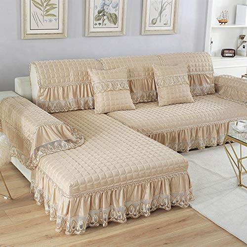 B/H Asiento Antideslizante sofá Funda Tejido,Cojín de Lino sofá, Funda de sofá Antideslizante de Tela-Beige_70 + 20 * 70cm,Muebles Elegante Sofa Cubre
