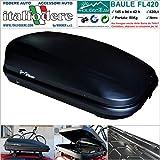 BOX BAULE DA TETTO AUTO 420Litri REALI (145x94x42) Cofano Carbox Portabagagli Portapacchi Portasci