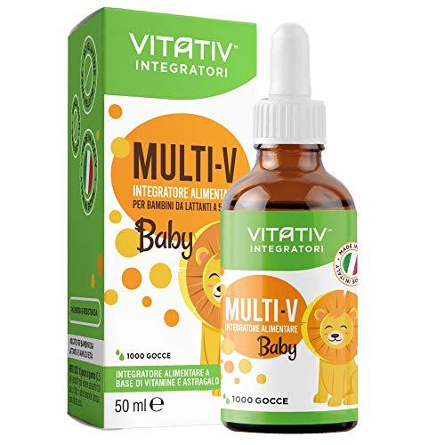VITATIV MULTI-V Baby | Integratore Multivitaminico per Bambini in Gocce 50ml con Astragalo Vitamina C Vitamina A Vitamina B12 Vitamina D Tiamina