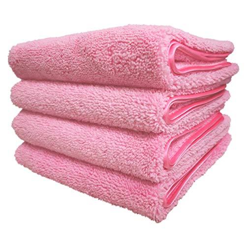 Polyte Schnell trocknendes, fusselfreies Mikrofaser-Handtuch, 40,6 x 76,2 cm, 4er-Set (Pink)