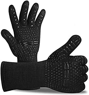 BBQ Gloves 800 ? / 1472 ? Extreme Heat Resistant Grilling Gloves Non-Slip Oven Gloves with Fingers Outdoor Cooking Mitts f...