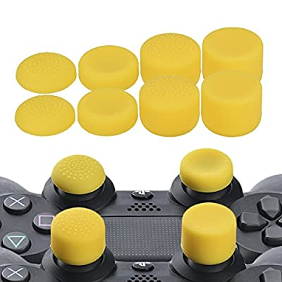 YoRHa Professional Thumb Grips Thumbstick Joystick Cap Cover (Yellow) Extra High 8 Units Pack for PS4 Dualshock 4, Switch PRO, PS3, Xbox 360, Wii U Tablet, PS2 Controller