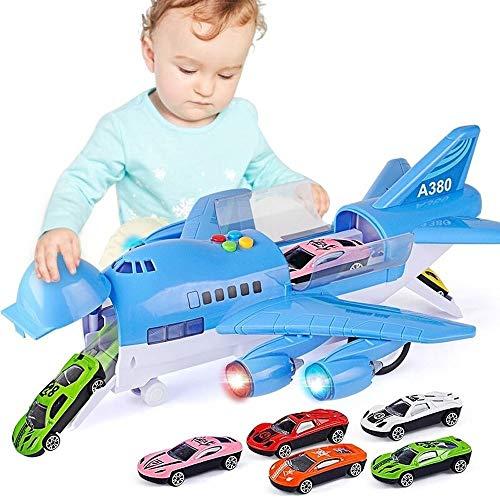 Kikioo 2-8 anos de edad chicos Large Track inercia aleacion de metal fundido Avion de juguete electrico retroceso Vehiculos Aviones Airbus Con luces y los sonidos de los ninos regalos de cumpleanos de