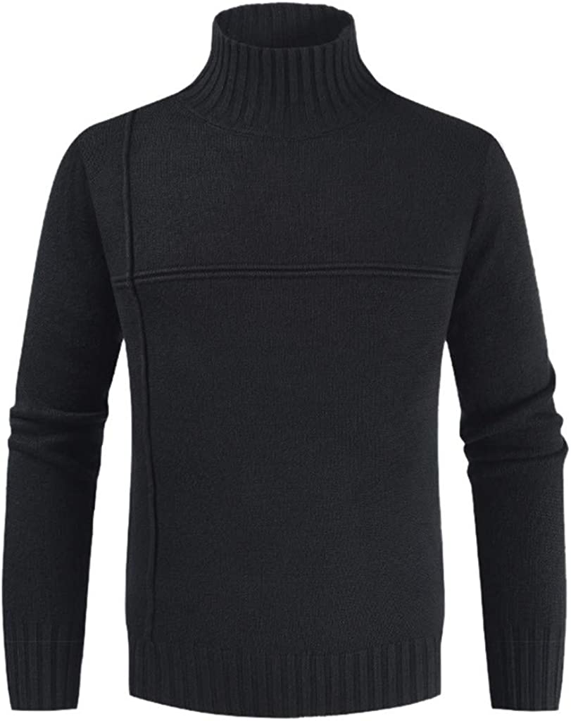 MODOQO Men's Slim Fit Turtleneck Sweater Casual Knitted Pullover Solid Sweaters