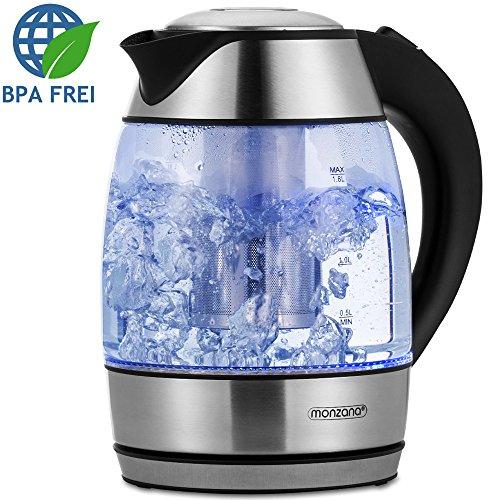 Monzana Wasserkocher Teekocher Edelstahl Kocher Glas LED BPA frei kabellos 1,8 Liter 2200 Watt 360° drehbarer Kontaktsockel inkl. Teesieb Kalkfilter