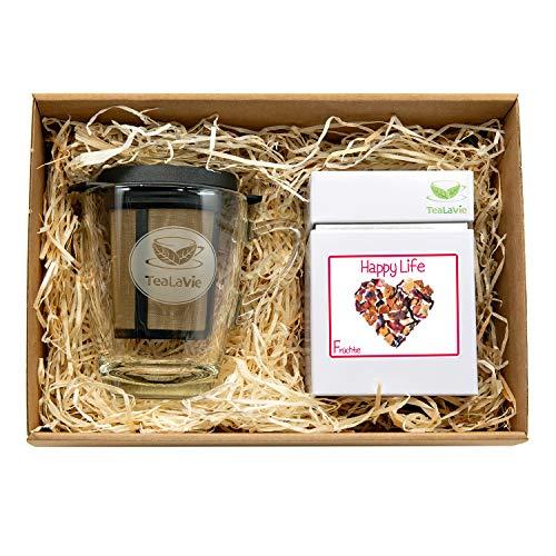 TEALAVIE – Tee Geschenk Set - TeaForOne Happy Life | Stilvolles Tee-Glas mit Dauerfilter und exklusiver Teedose – 100g Früchtetee - Tea-For-One-Set